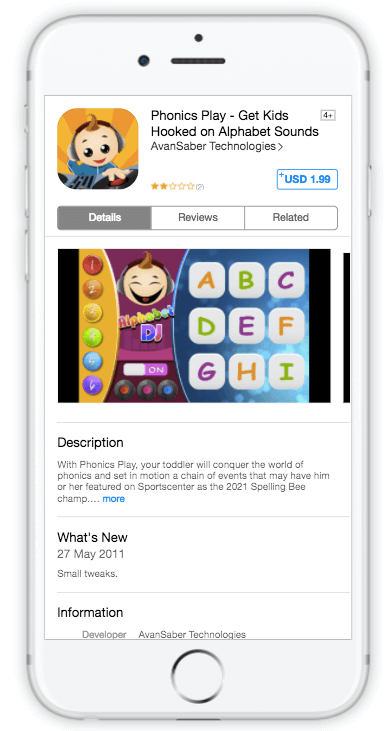SplitMetrics experiment for Phonics Play app