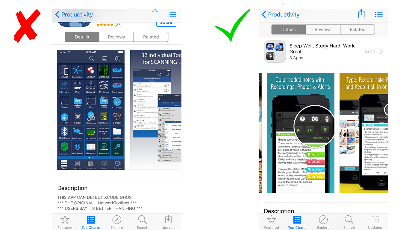 screenshot a/b testing best practices how to design for app store conversion