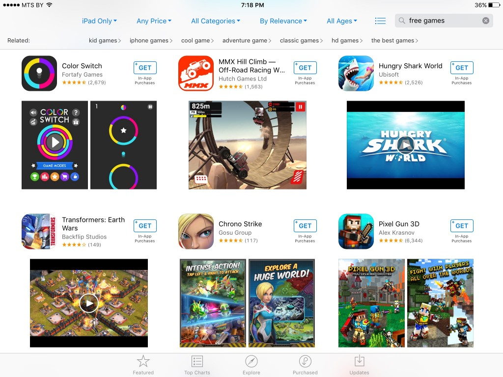 New App Store Search Layout