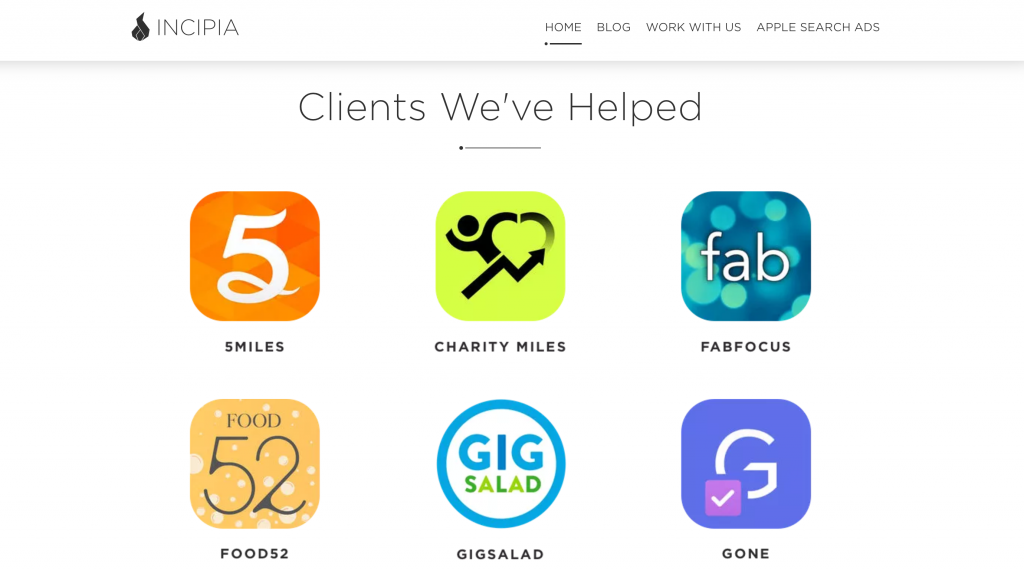 incipia app marketing agency splitmetrics clients