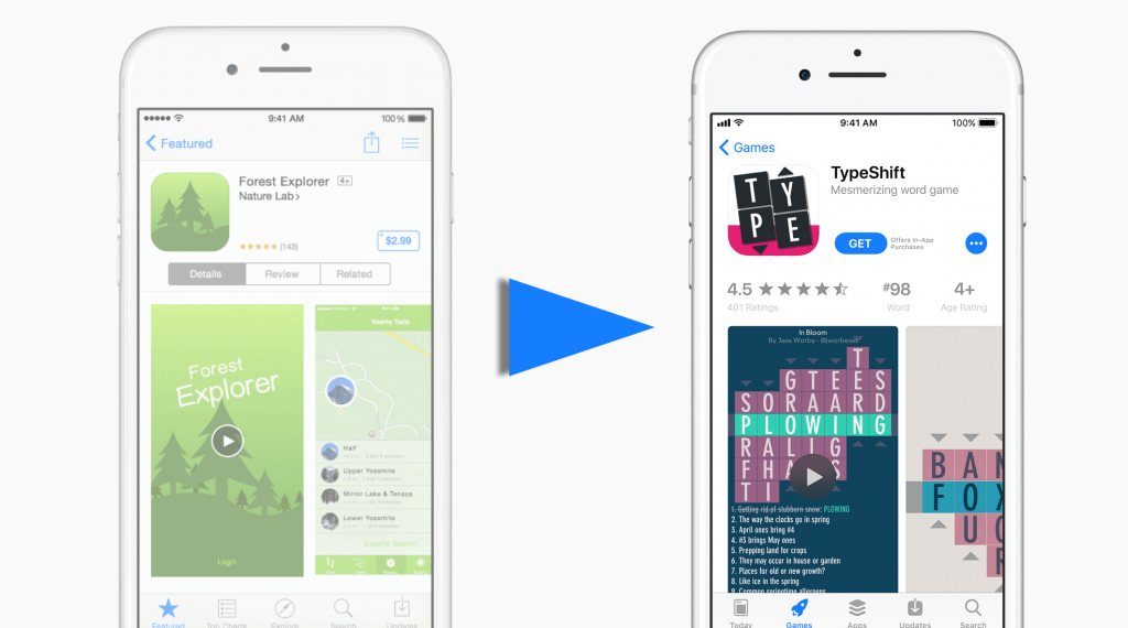 new design app store page splitmetrics