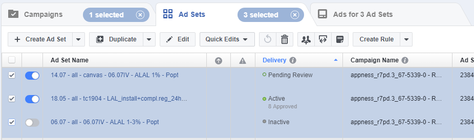 Facebook App Install Ads ad sets splitmetrics