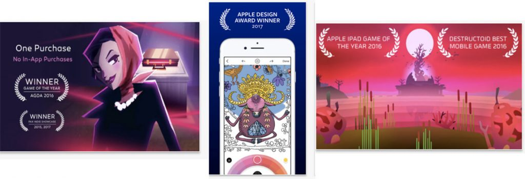 App store screenshots with awards for ASO