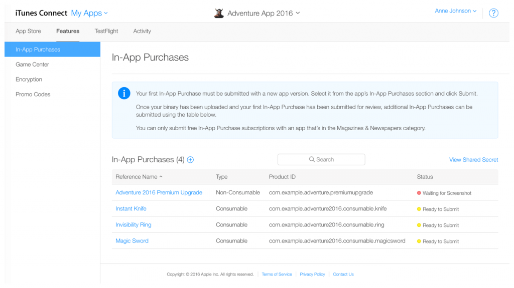 apple app store guidelines for in-app purchases