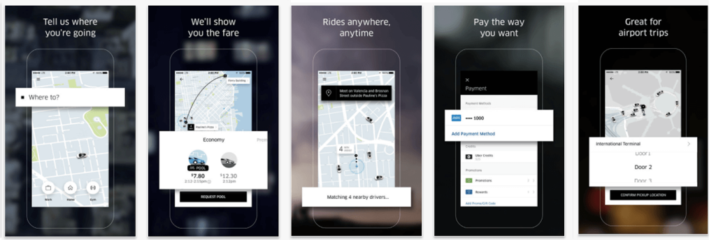 ASO app store screenshots for Uber