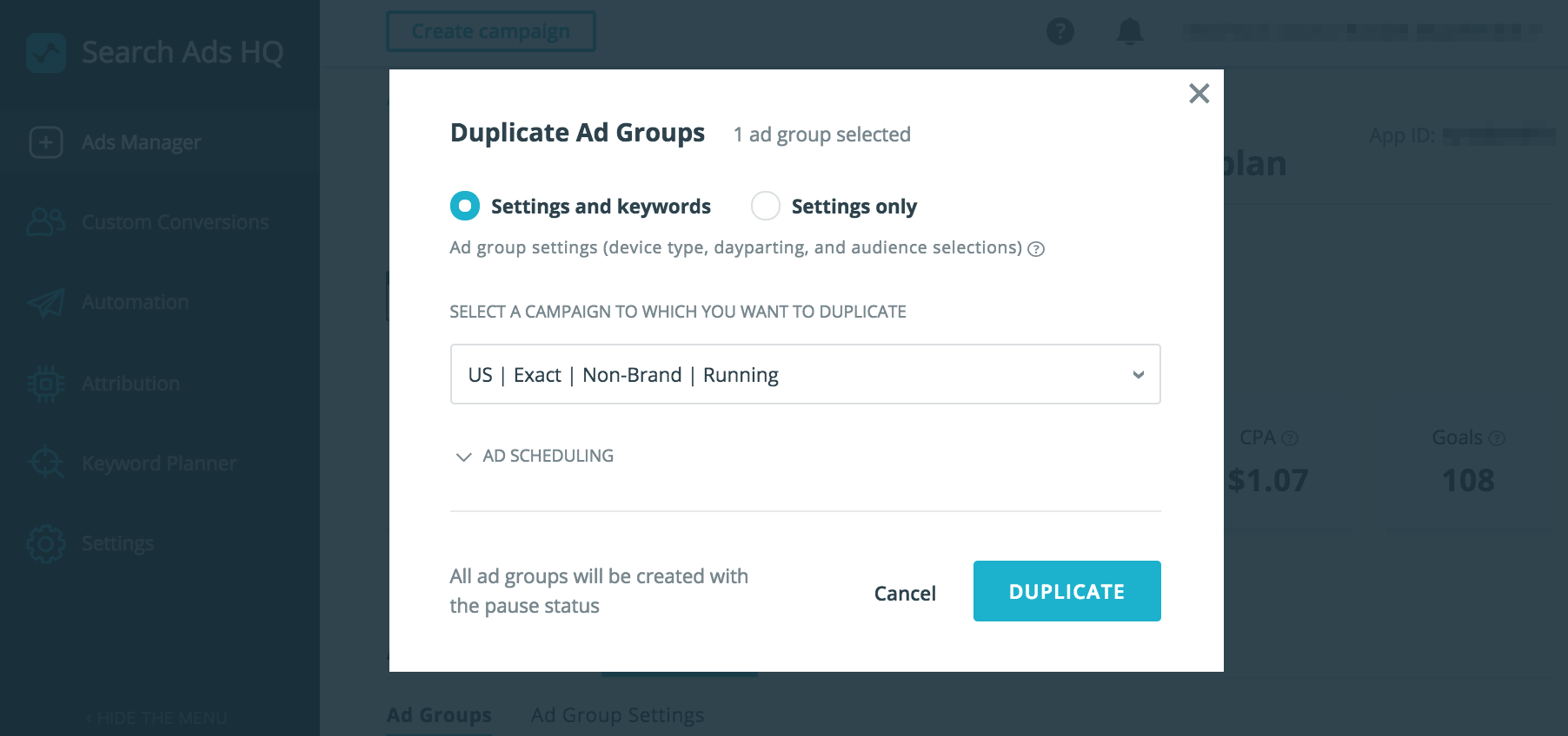 keyword planner duplicate apple search ads hq