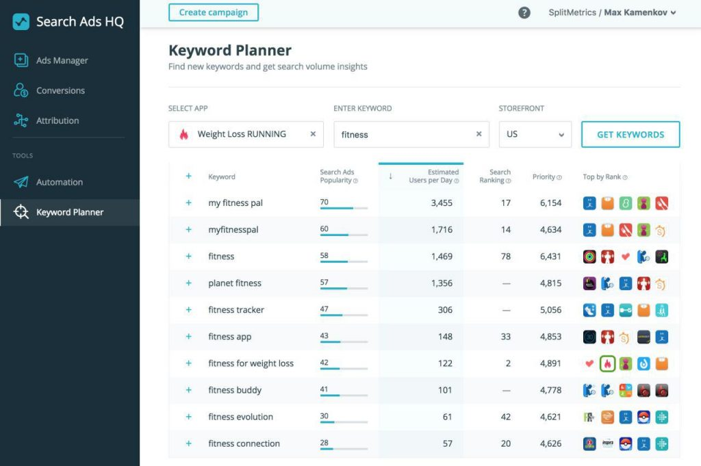 SearchAdsHQ Keyword Planner dashboard