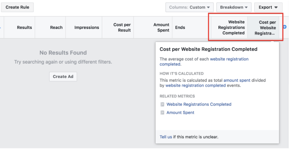 actions related to SplitMetrics on Facebook ads