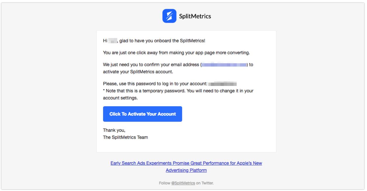 SplitMetrics account settings
