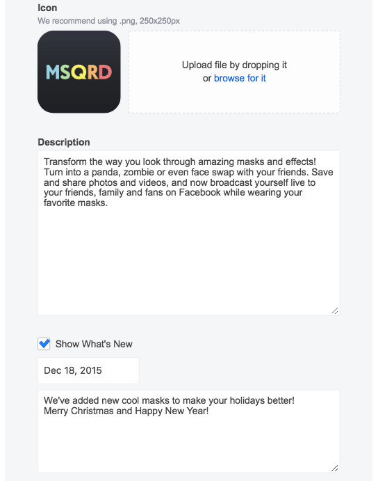 app description setting