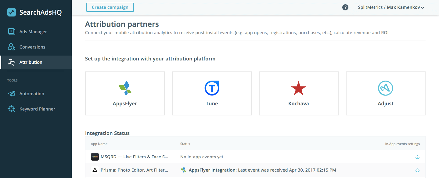 Attribution Partners Integrated with SearchAdsHQ