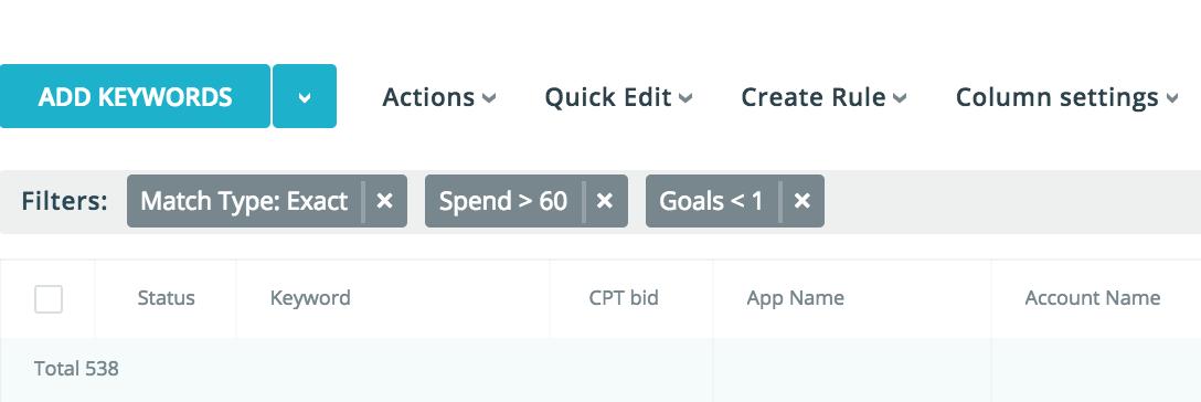 ASA Target Cost per Goal