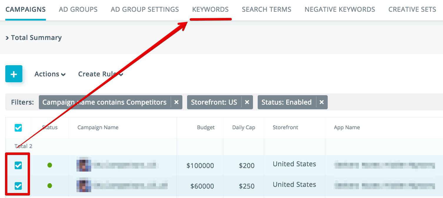 Filtering keywords in SearchAdsHQ