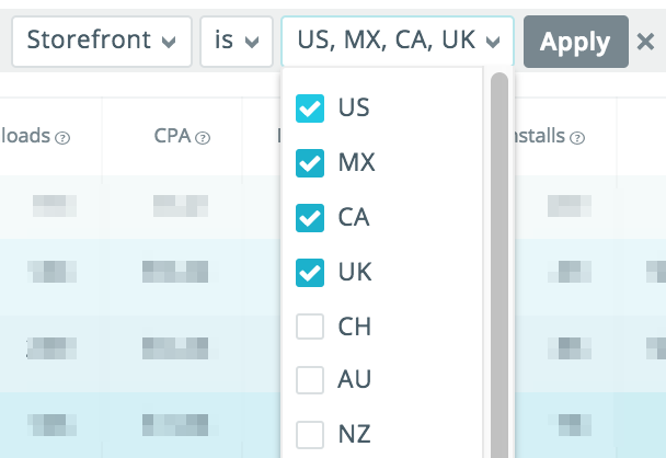 Search Ads storefronts filters