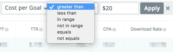 SearchAdsHQ metrics filters