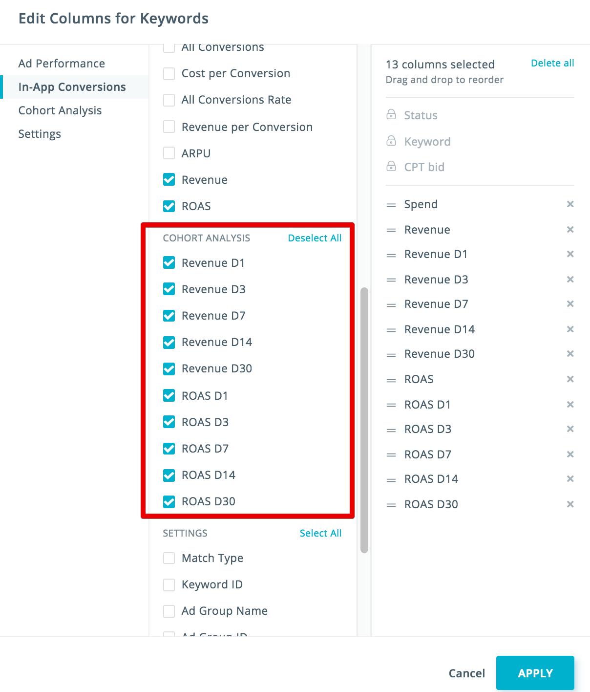 SearchAdsHQ cohorts analysis
