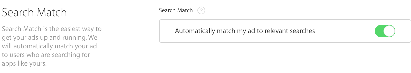 Search Match built in Search Ads