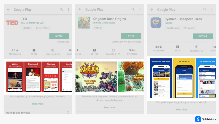 Google Play product page: screenshots