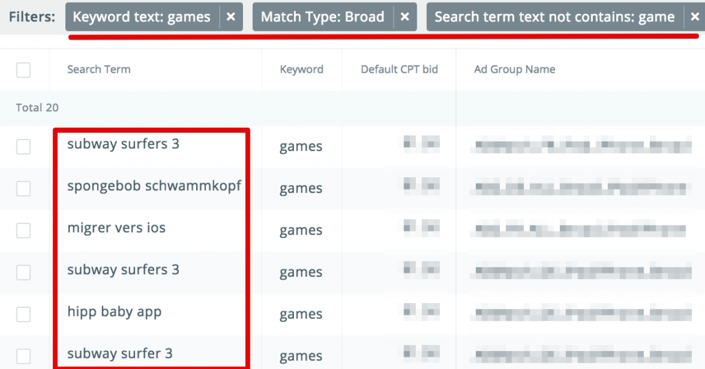 Apple Search Ads discovery campaigns report
