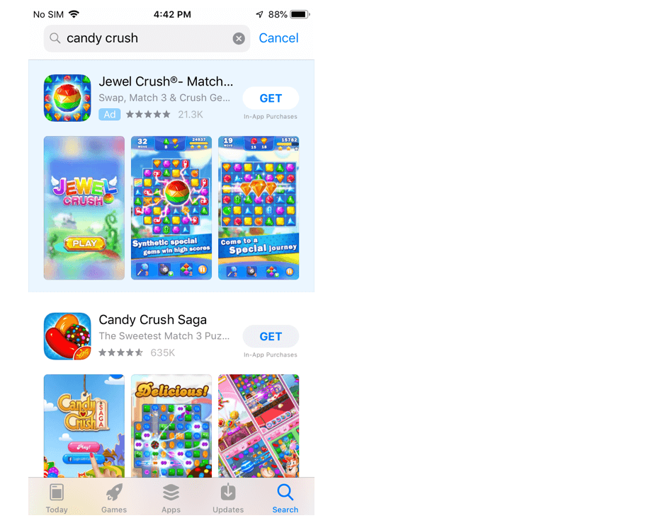 Apple App Store search results