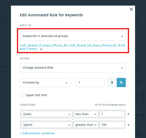 Apple Search Ads management: edit rules