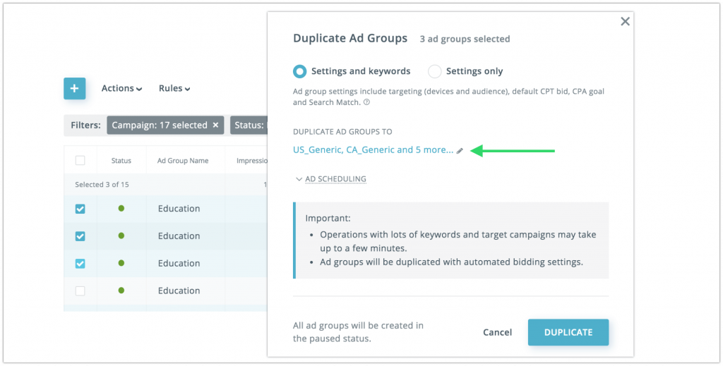 Ad groups duplication