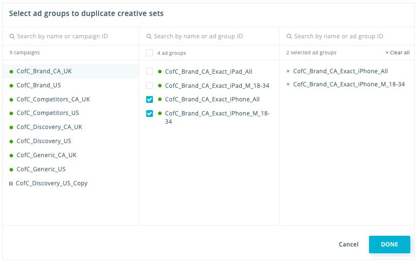 Bulk duplication_creative sets