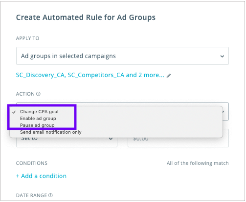 Updated automation for ad groups