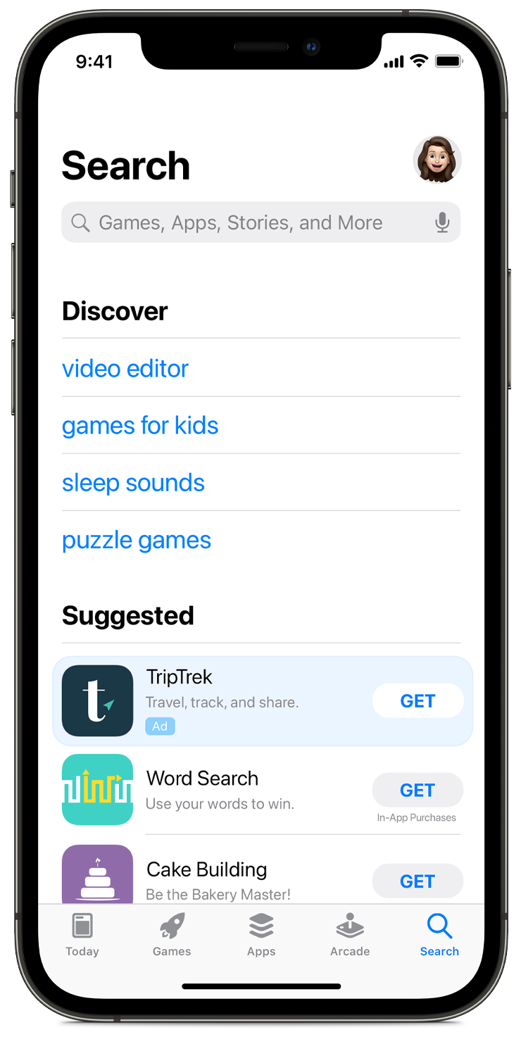New Apple Search tab ads